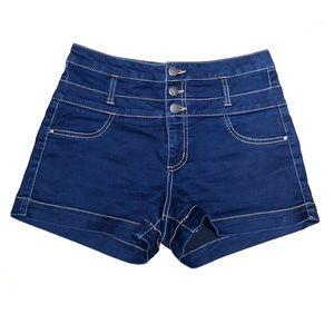 Dark Denim High Waisted Shorts